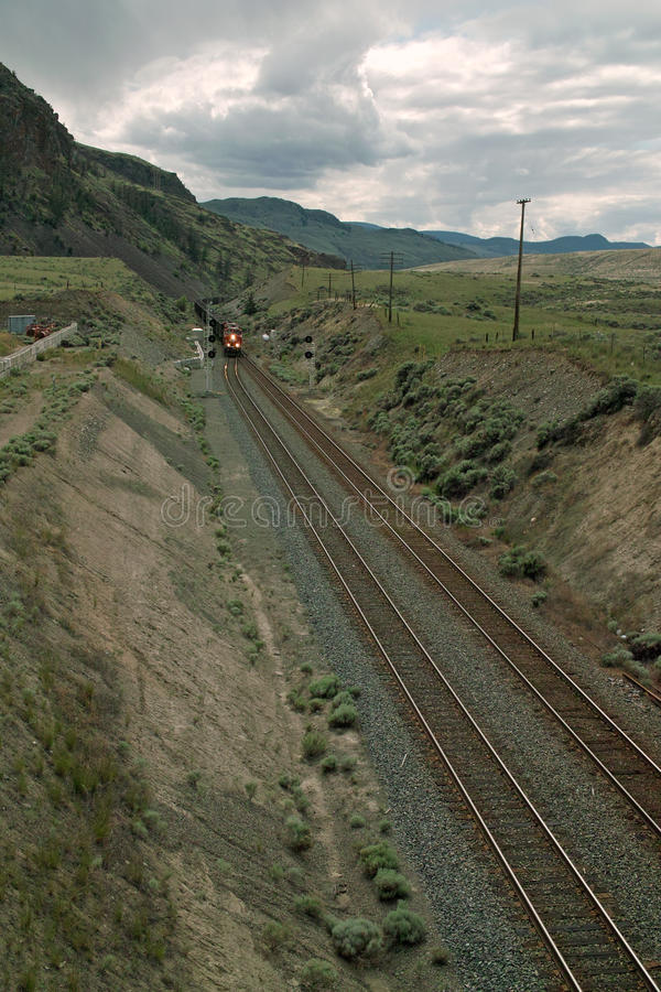 CPR Coal Train In the Thompson River Valley, BC, Canada stock image