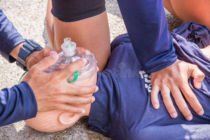 Cpr dummy child victim drowning training stock images