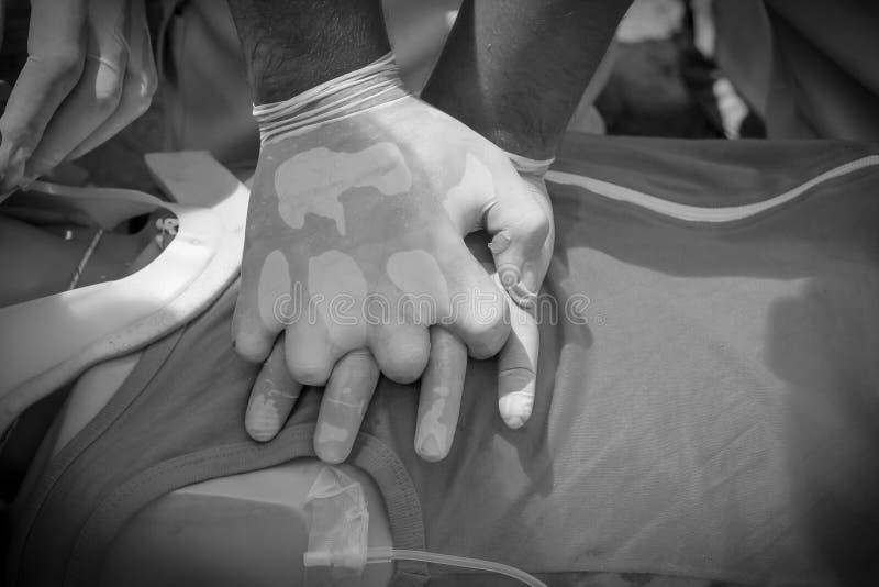 CPR procedura medica di formazione, dimostrante compressione del petto sulla bambola di CPR fotografia stock