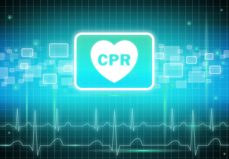 CPR sign on virtual screen vector illustration