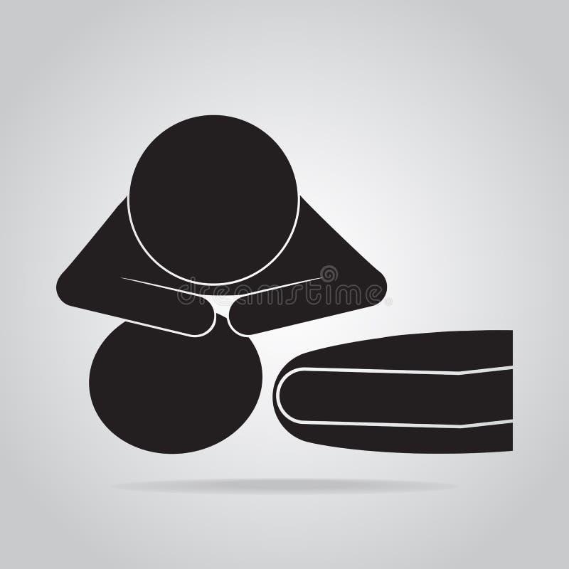 CPR Wiederbelebung der ersten Hilfe, Mund-zu-Mund-Beatmungs-Ikone stock abbildung