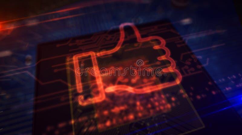 CPU在船上用象全息图的手 库存例证