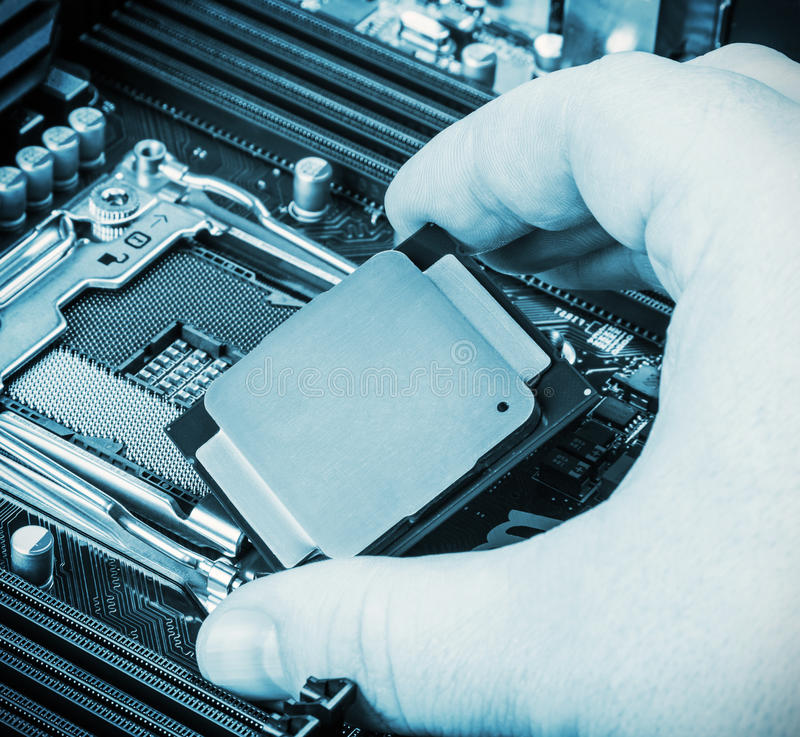 CPU à disposition images stock