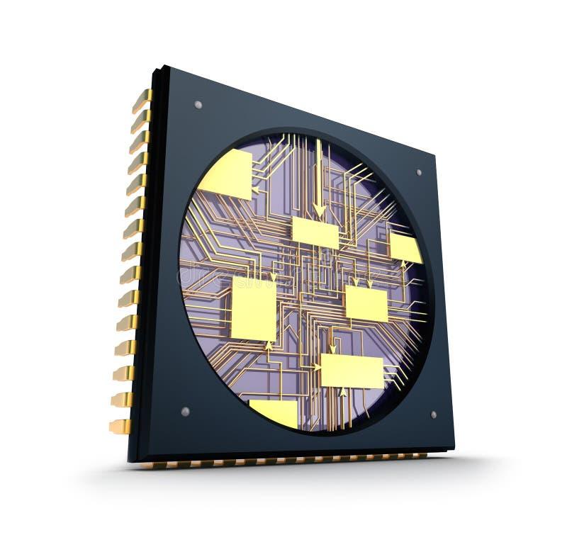CPU. À l'intérieur du concept de puce. illustration stock