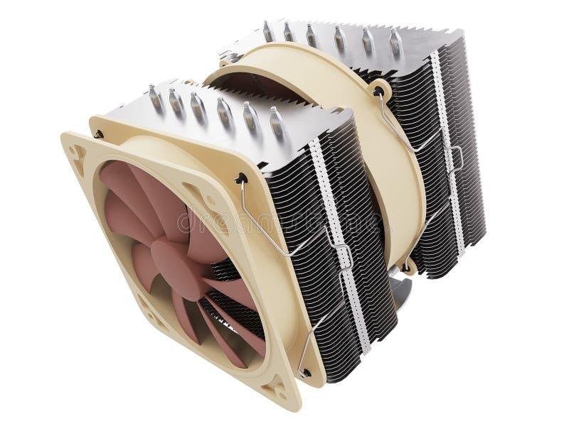 Cpu致冷机,在被隔绝的背景的吸热器 向量例证