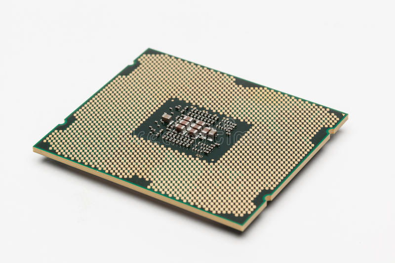 CPU. Modern multicore CPU on white background royalty free stock photography