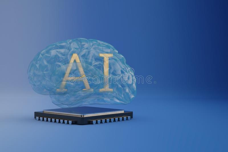 Cpu with ai brain on blue background 3D illustration vector illustration
