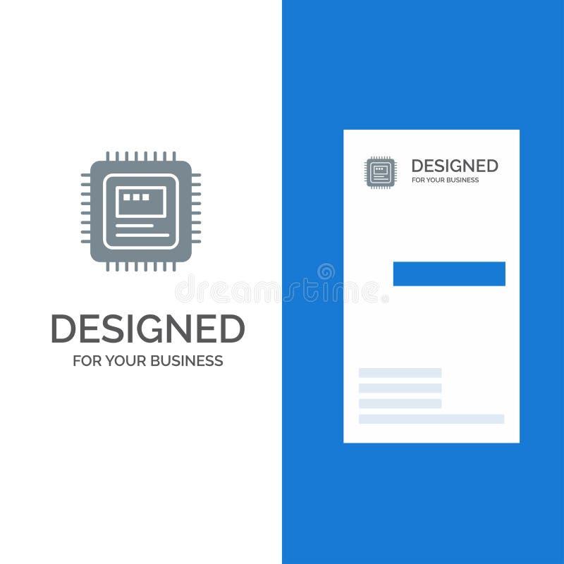 CPU, almacenamiento, ordenador, hardware Grey Logo Design y plantilla de la tarjeta de visita stock de ilustración