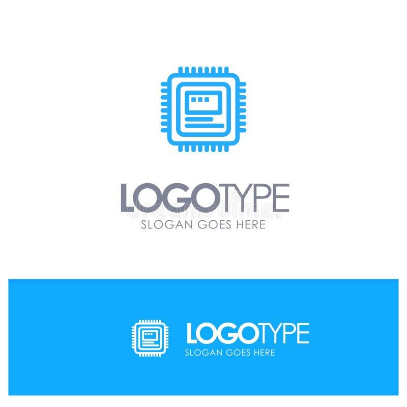 CPU, almacenamiento, ordenador, hardware Logo Line Style azul stock de ilustración