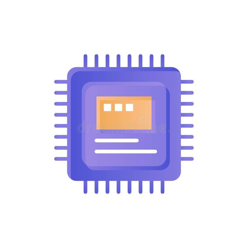 CPU, almacenamiento, ordenador, icono plano del color del hardware Plantilla de la bandera del icono del vector libre illustration