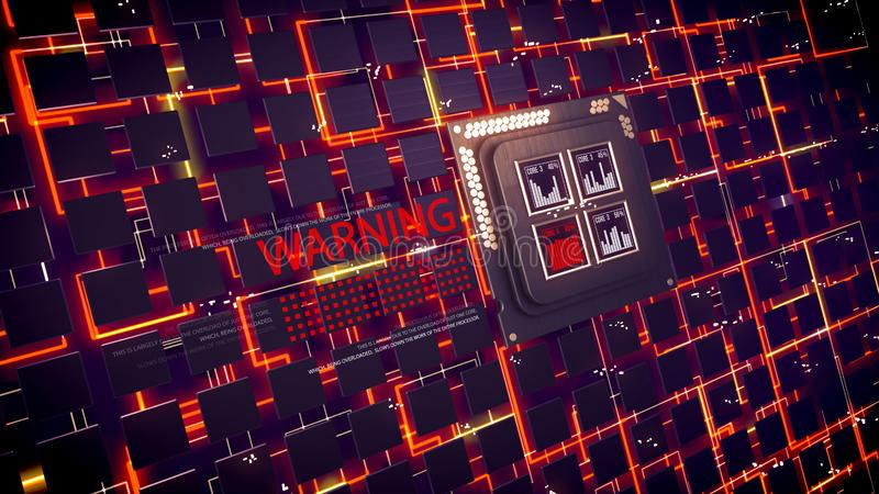 CPU appliances pulsing in black cyberspace. Futuristic 3d illustration of CPU squares with four bar charts inside. Many cubic devices are linked with orange stock illustration