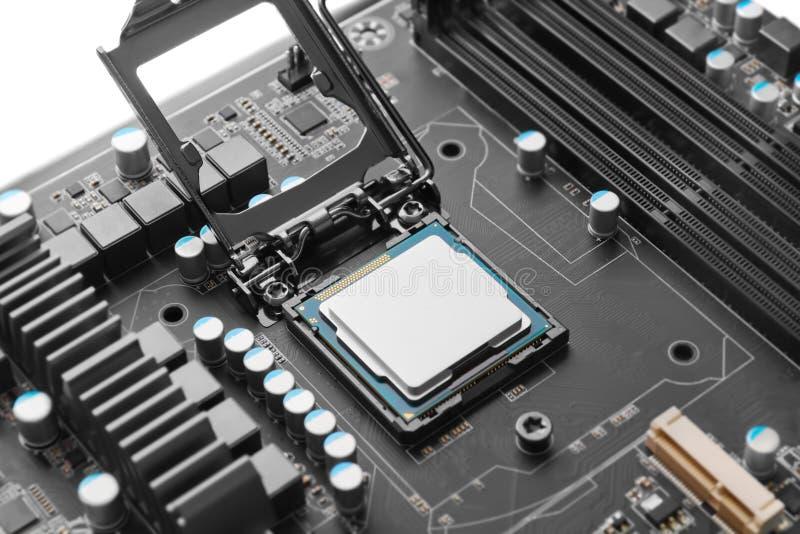 CPU auf Motherboard stockbilder