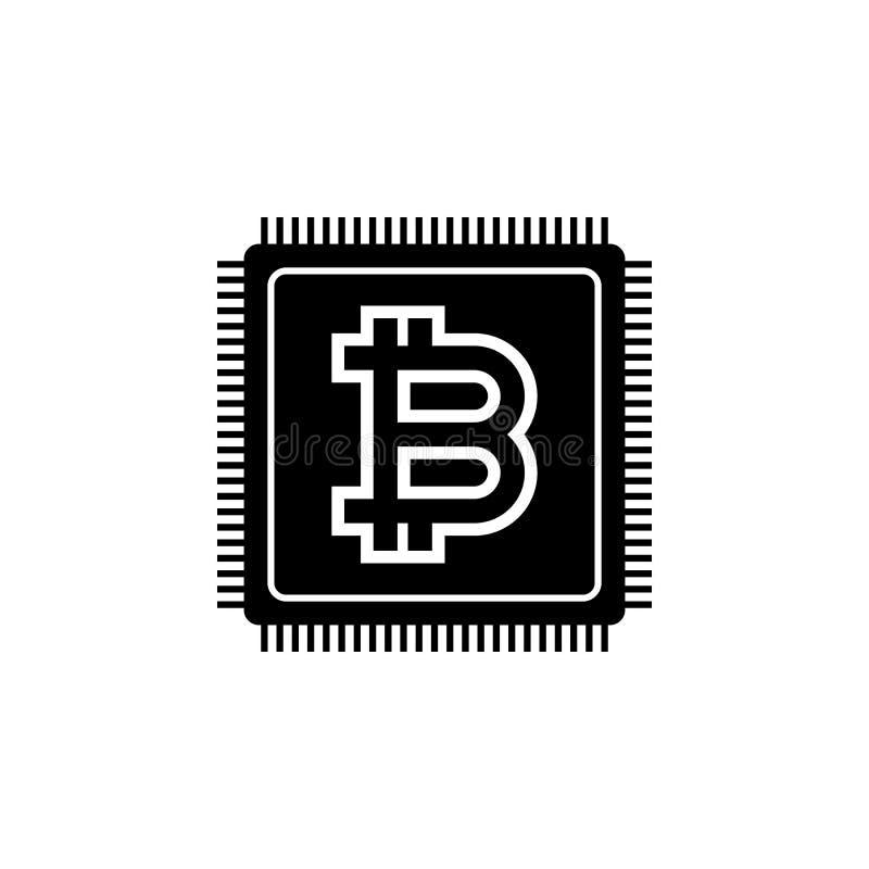 CPU-bitcoinsymbol Beståndsdel av den Crypto valutasymbolen för mobila begrepps- och rengöringsdukapps Den detaljerade CPU-bitcoin vektor illustrationer