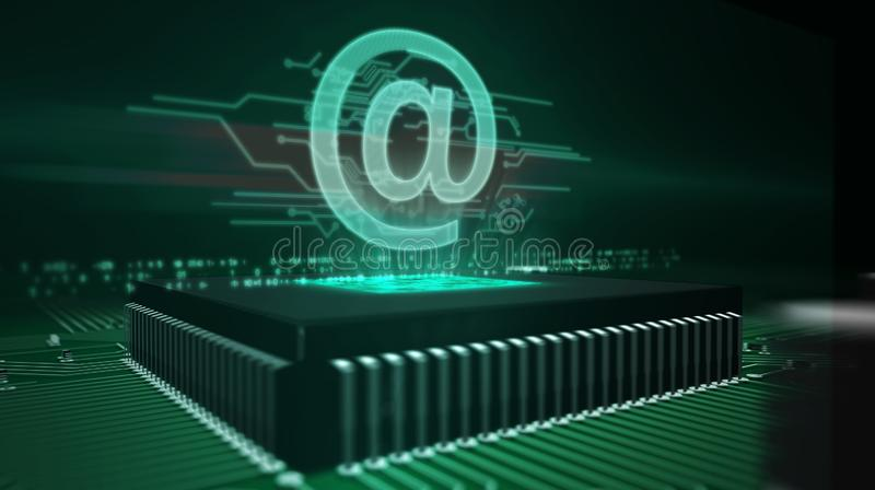 CPU on board with at - mail hologram. Cyber security concept with at @ mail hologram over working cpu in background. Internet communication, correspondence royalty free stock photos