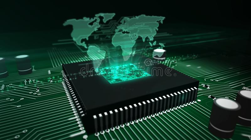 CPU on board with world map hologram royalty free stock images