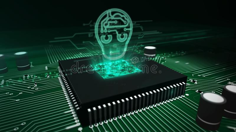 CPU a bordo con el holograma de la cabeza del ai