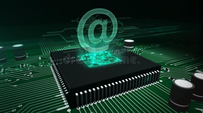 CPU a bordo con en - el holograma del correo imagen de archivo libre de regalías