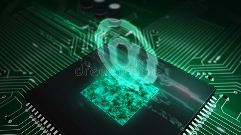 CPU a bordo con en - el holograma del correo libre illustration