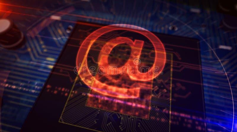 CPU a bordo con en la exhibici?n del holograma libre illustration