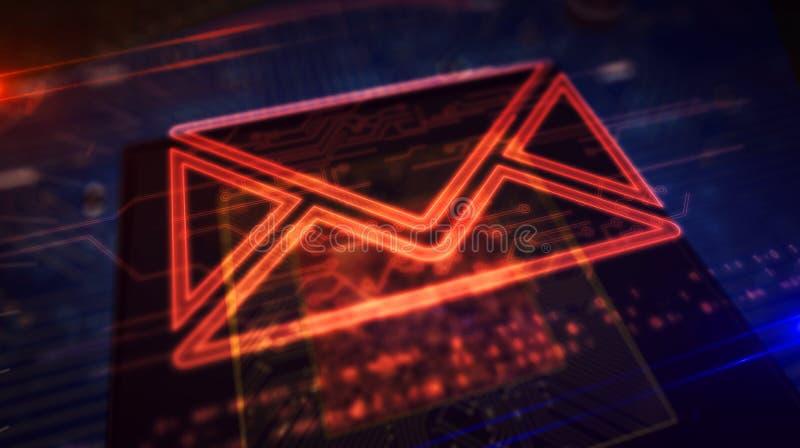 CPU a bordo con la exhibición del holograma del símbolo del sobre ilustración del vector
