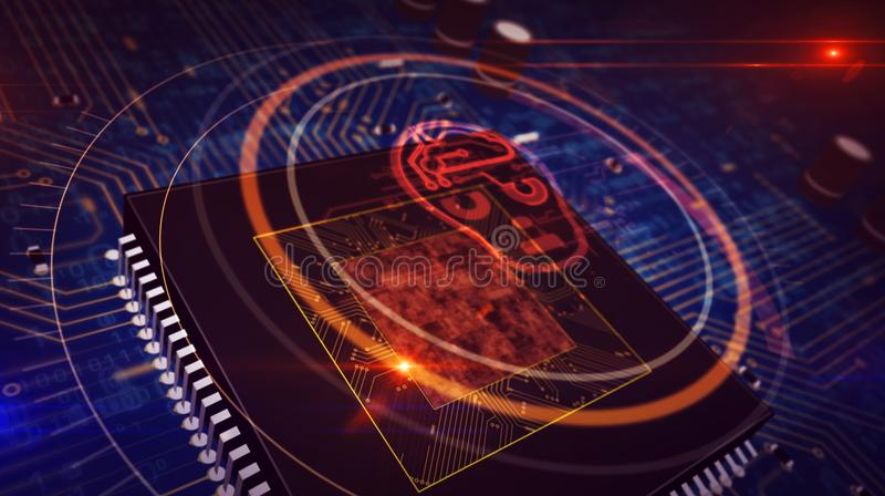 CPU a bordo con la exhibici?n del holograma de la forma de la cabeza del ai fotos de archivo libres de regalías