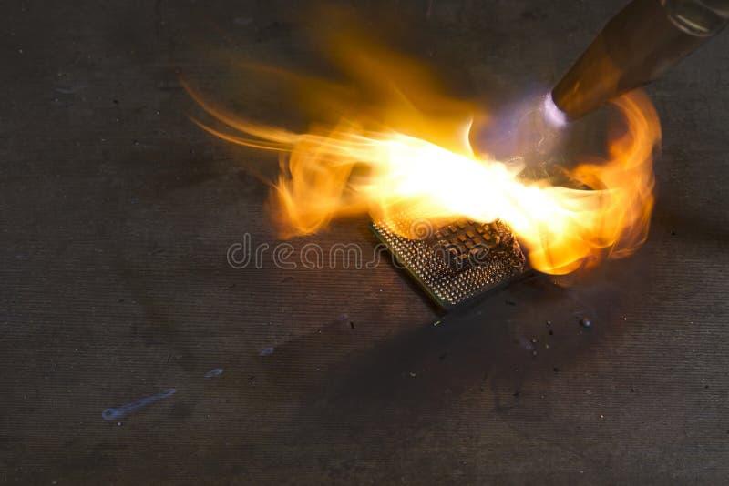 CPU bruciante fotografia stock libera da diritti