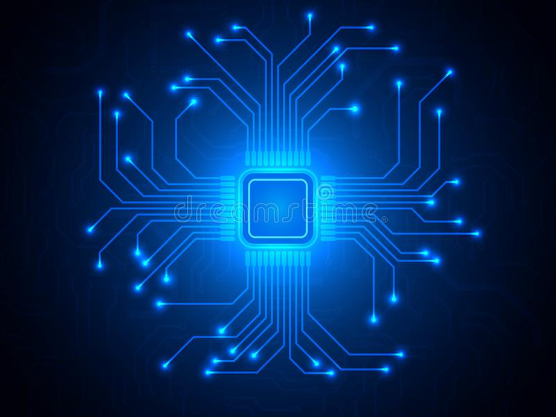 CPU chip on blue background. Microprocessor with bright connections. Abstract light technological backdrop. Trendy stock illustration