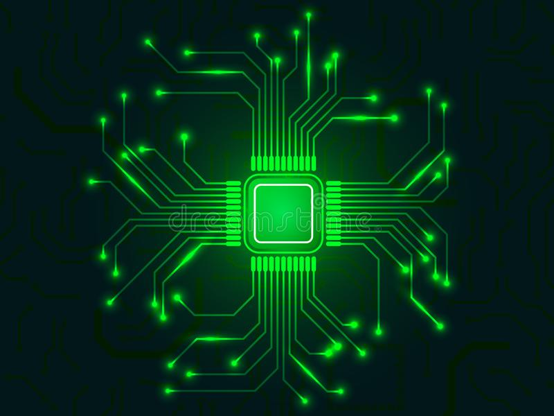 CPU chip with bright connections. Green microprocessor. Abstract light technological backdrop. Glowing motherboard vector illustration