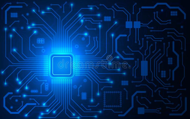 CPU chip and circuit board. Blue microprocessor background. Computer motherboard. Bright connections. Abstract light royalty free illustration