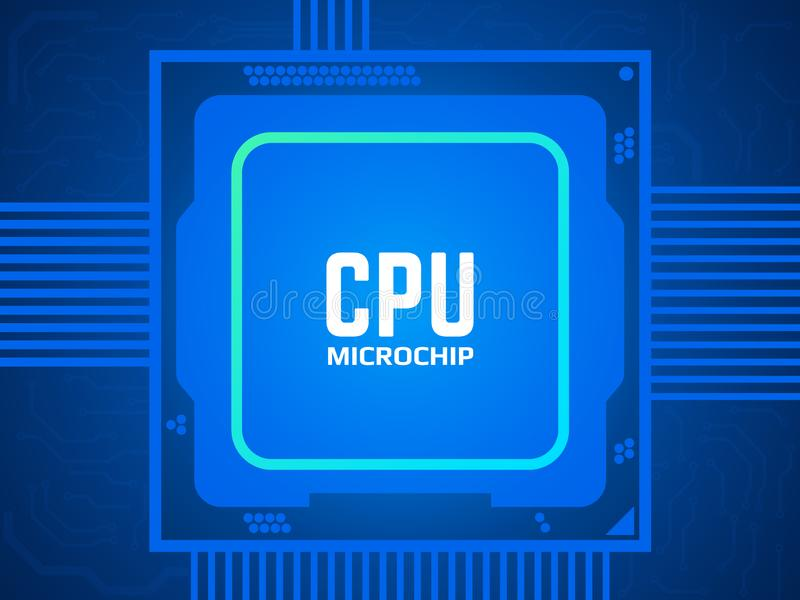 CPU chip on circuit board. Blue microprocessor and motherboard. Abstract technological concept. Processor and bright vector illustration