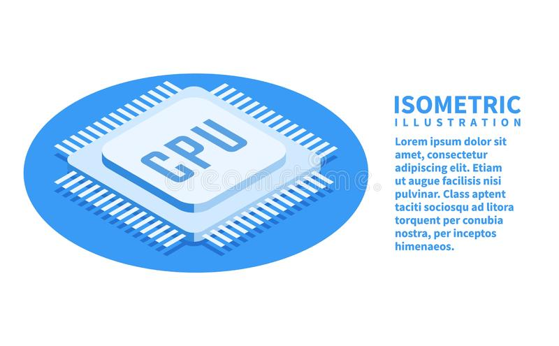 CPU chip, Computer processor icon. Isometric template for web design in flat 3D style. Vector illustration.  vector illustration
