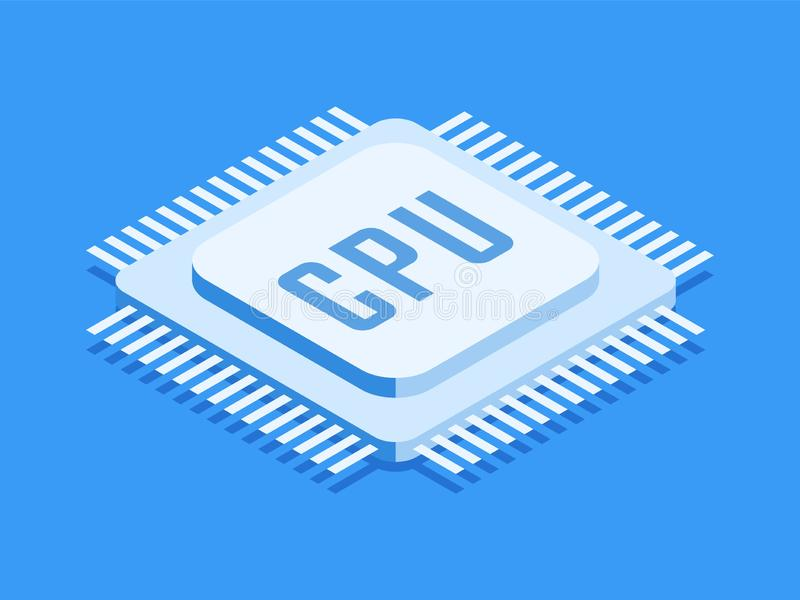CPU chip, Computer processor icon. Isometric template for web design in flat 3D style. Vector illustration stock illustration