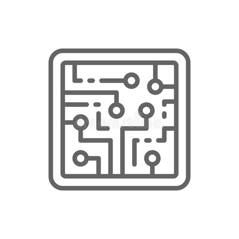 CPU, chip de ordenador, circuito electr?nico, l?nea icono del procesador ilustración del vector