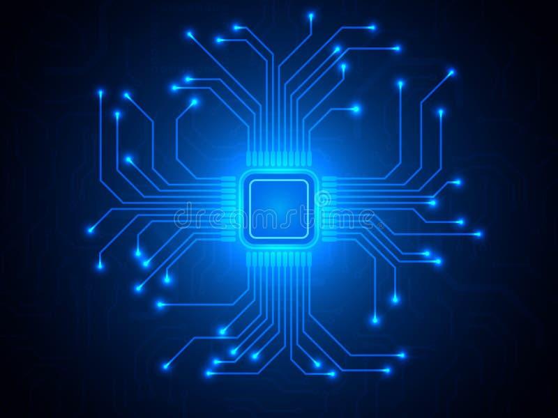CPU-chip på blå bakgrund Mikroprocessor med ljusa anslutningar Abstrakt ljus teknologisk bakgrund moderiktigt stock illustrationer