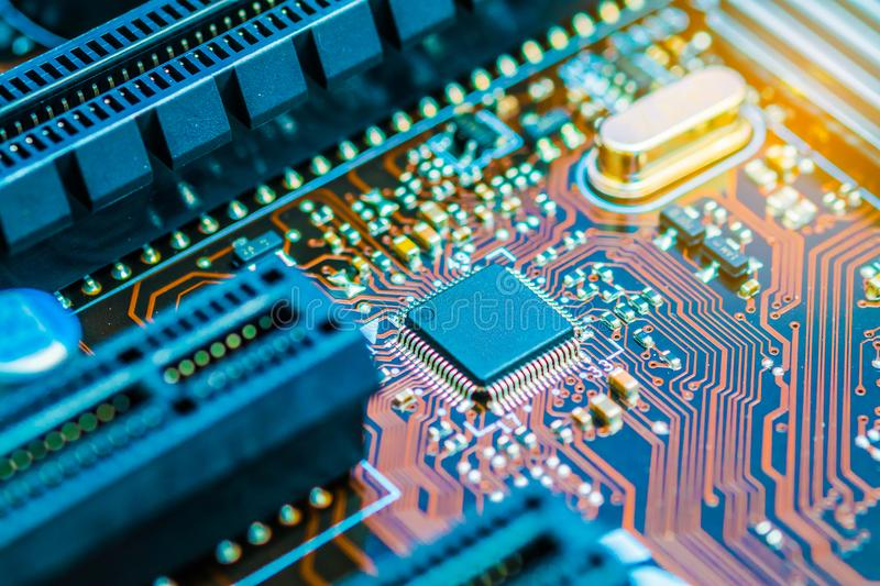 Cpu chipset on printed circuit board pcb close up. royalty free stock photo