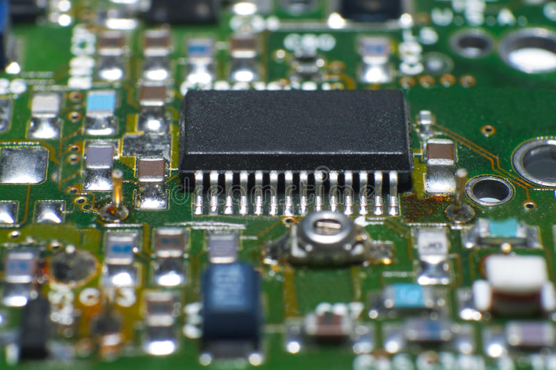 Cpu circuit board. Close up of circuit board with electronic components royalty free stock photography