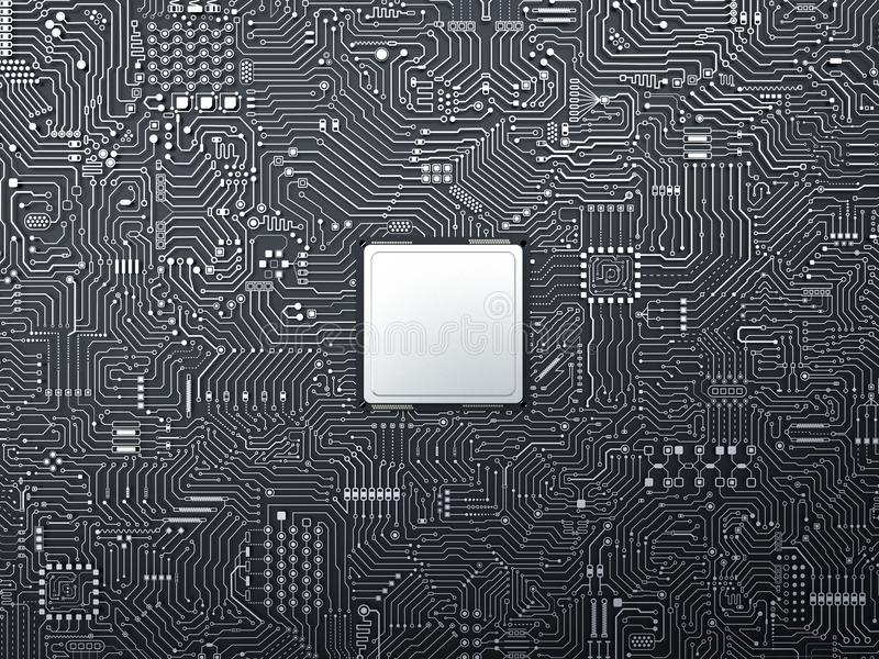 Cpu on circuit board royalty free stock image