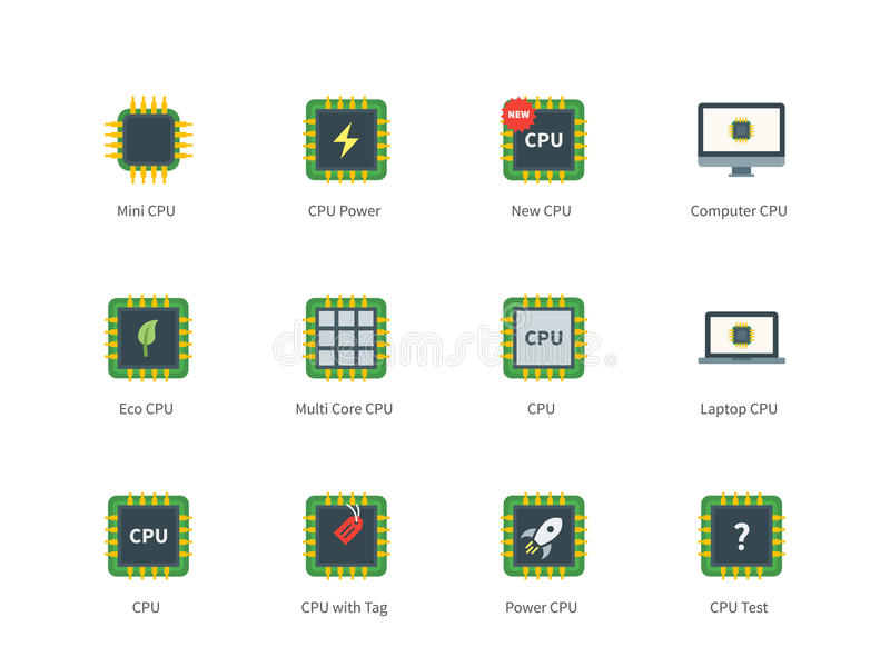 Cpu color icons on white background royalty free illustration