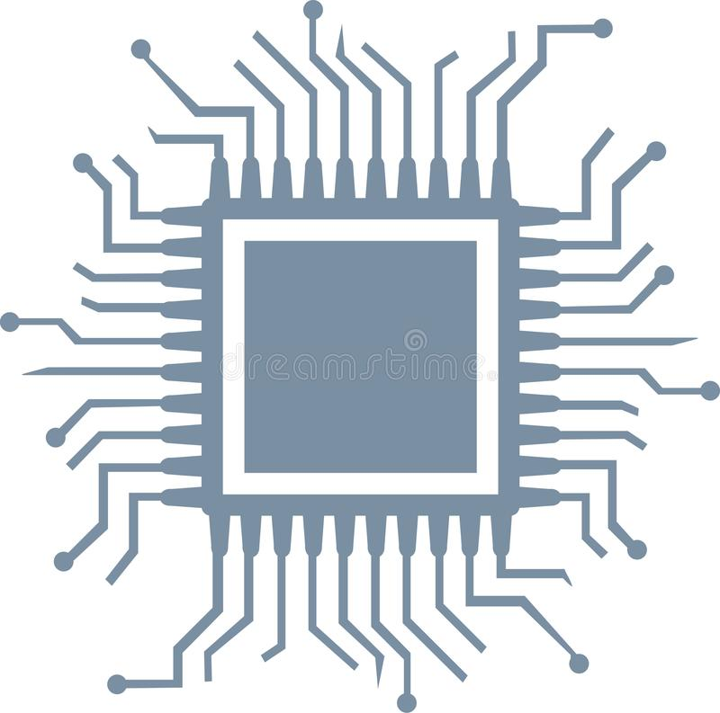 CPU computer chip. Blue vector royalty free illustration
