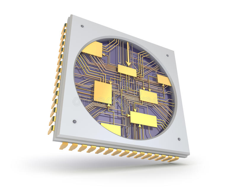 CPU Comuter chip, inside view royalty free illustration