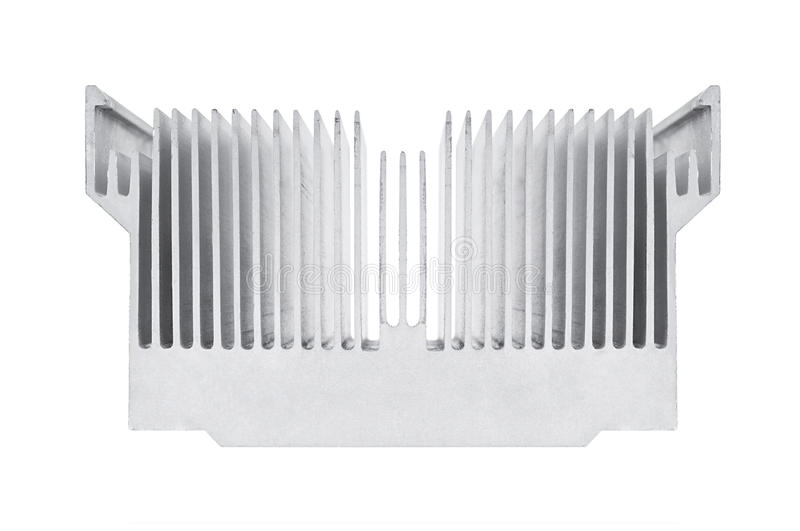 Cpu cooler. Closeup of an alluminium cpu cooler isolated on white royalty free stock photos