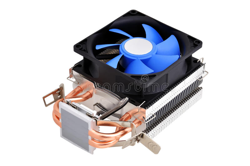 Cpu cooler. On a white background royalty free stock photos