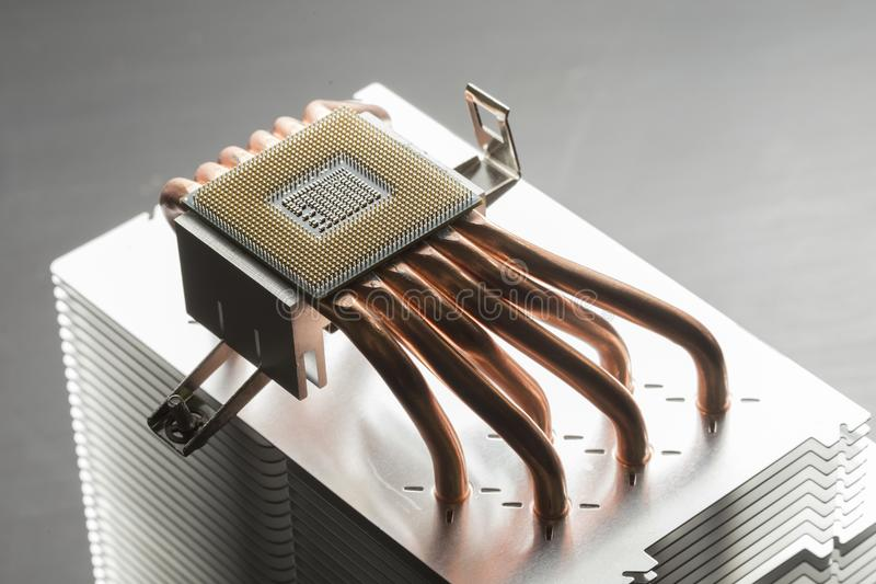 CPU cooler heatsink stock image