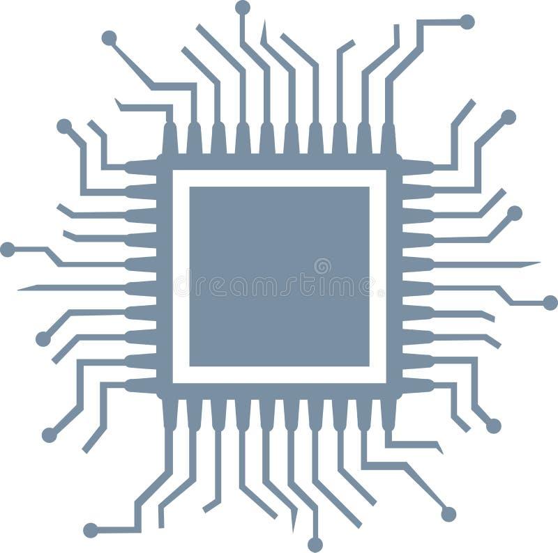 CPU-datorchip royaltyfri illustrationer