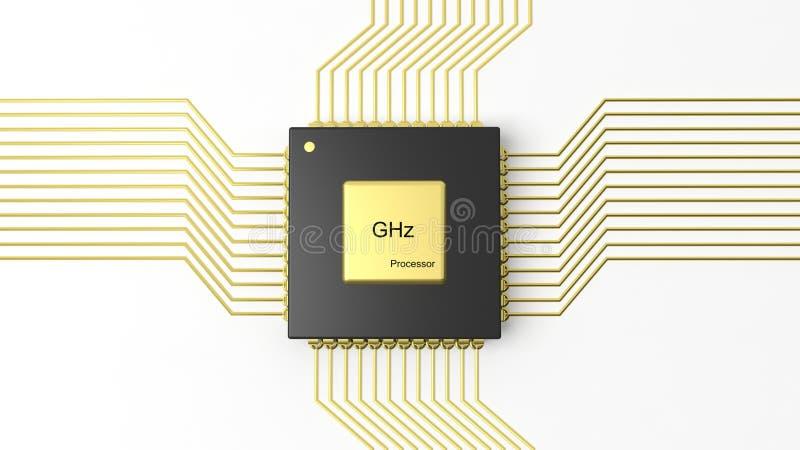 CPU de puce d'ordinateur illustration de vecteur