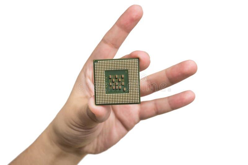 CPU in der Hand stockfotografie