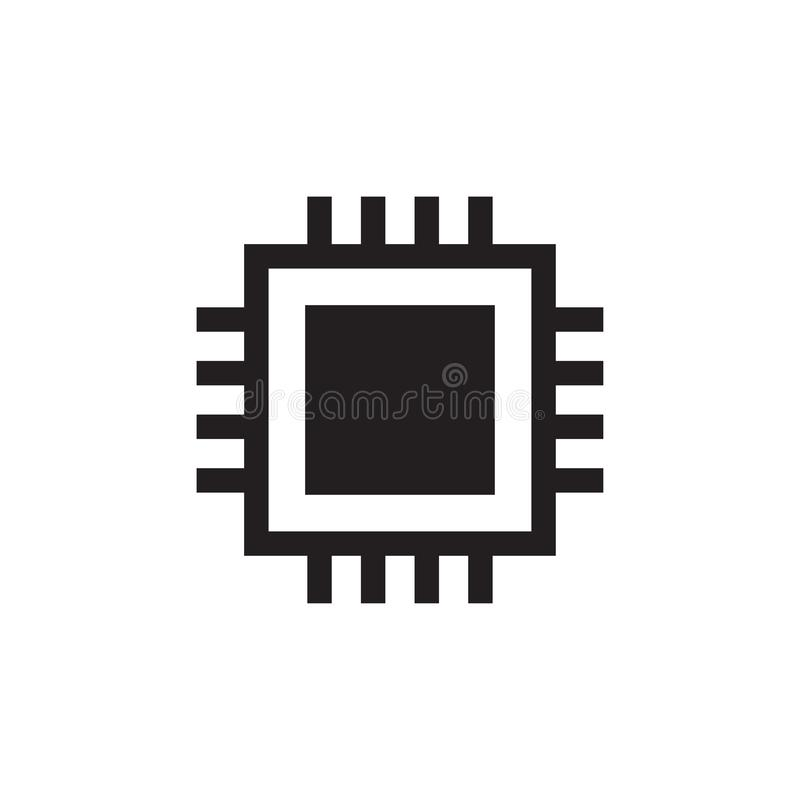 Cpu-digitale pictogramcomputer illustratie van het spaander de vectorpictogram stock illustratie