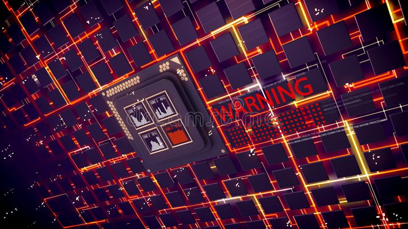 CPU equipment pulsing in black backdrop. Innovative 3d illustration of CPU electronic squares with bar charts. Cubic devices are connected with orange stock illustration