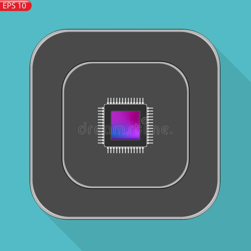 CPU för symbol för stil för apparatprocessor en plan stock illustrationer