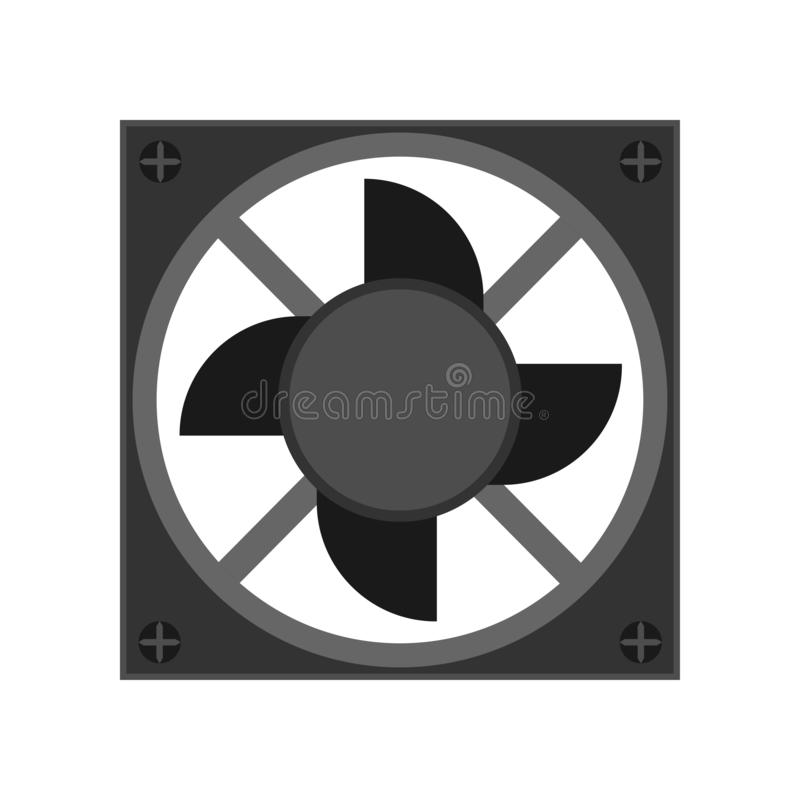 CPU fan black device design part component PC vector icon. Service computer tool power cooler blower ventilator vector illustration